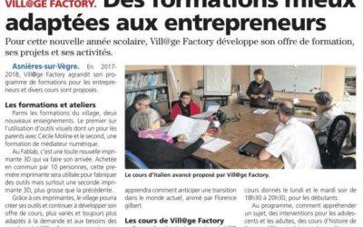 """Les Nouvelles de Sablé du 19/10/17 – """"Des formations mieux adaptées aux entrepreneurs"""""""
