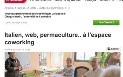 """Ouest France du 20/10/17 – """"Italien, web, permaculture… à l'espace de coworkinng"""""""